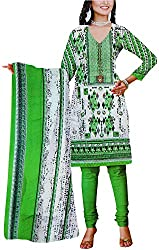 Majaajan Women's Cotton Self Print Unstitched Salwar Suit Dress Material (BNSL0667GRN, Green, Freesize)