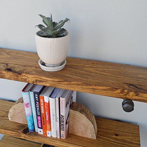 "Industrial Floating Shelves, Set of 3, 8"" Depth with Pipe Support Brackets, Industrial Shelving, Book Shelf, Display Shelf, Wood Plumbing Shelves"