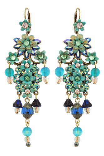 Michal Negrin Superb Chandelier Earrings Adorned with Hand Painted Flowers, Dangle Glass Beads, Pastel Shades Swarovski Crystals - Special Ordered and Shipped by Genuvo within 2 to 3 Weeks