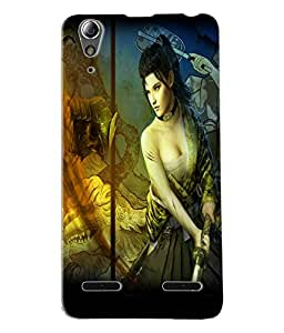 Fuson Cute Girl Back Case Cover for LENOVO A6000 - D3685