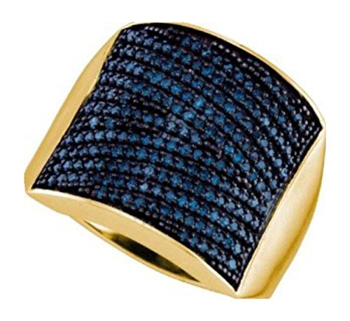 1.01 Cttw 10K Yellow Gold Mens Blue Diamond Wedding Band (Sizes 8-13)
