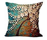 "Oil Colorful Painting Tree Patter Cotton Linen Decorative Throw Pillow Case Cushion Cover Abstract Painting 18 ""X18 "" White & Blue"