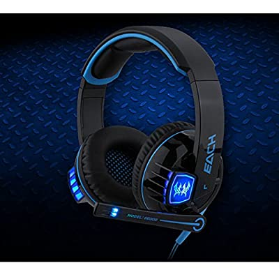 VersionTech Comfortable USB 3.5mm Stereo Gaming Glaring LED Lighting Over-Ear Headset Headphone Headband Earphone with Mic Volume Control for PC Computer CF Game With Noise Cancelling - EACH G6000 Blue