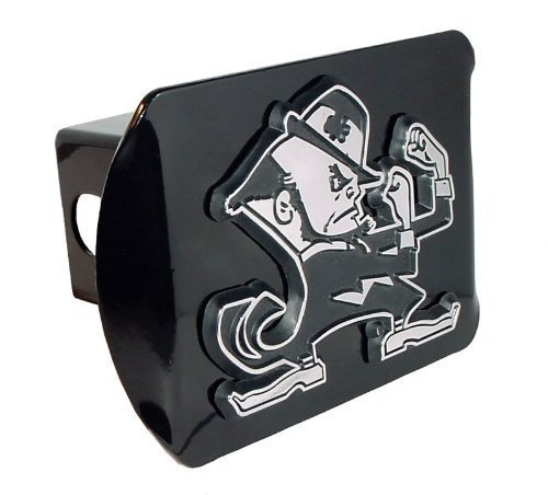 Notre Dame Fighting Irish Leprechaun Black Metal Trailer Hitch Cover with Chrome Metal Logo (For 2