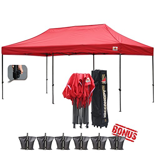 (18+ colors)AbcCanopy 10x20 Pop up Tent Instant Canopy Commercial Outdoor Canopy with Wheeled Carry Bag Bonus 6x Weight Bag (red) (10x20 Canopy Commercial compare prices)