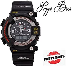 Pappi Boss Pappi Boss S Shock LED Digital & Analog Black Dial Sports Watch for Boys, Men