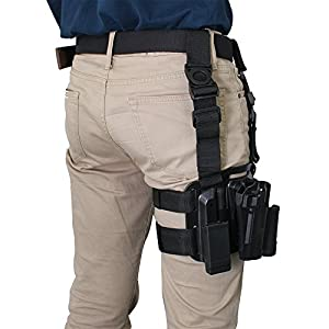 Tactical Right Leg Gun Pistol Holster Military Special Forces Right Handed Belt (Black) from Signstek