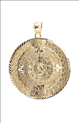 Irhatack buynow 14k yellow gold aztec calendar medal pendant charm 14k yellow gold aztec calendar medal pendant charm round 53mm wide aloadofball Image collections