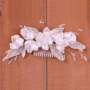 Satin Flower w/ Pearls Bridal Headpiece - White