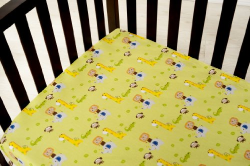 Kids Line Happy Tails Fitted Sheet, Sage Ground - 1