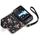 Terrapin Premium PU Leather Wallet Case/Cover/Pouch/Holster with Floral Interior for Sony Xperia Tipo - Black
