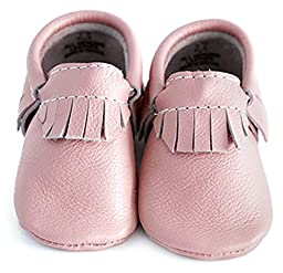 Baby Moccasins, The Coral Pear Classic Moccasin, Genuine Leather Shoes for Babies & Toddlers, Pale Pink, Size 1M (Babies & Toddlers)