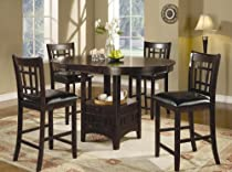 Hot Sale 5pc Counter Height Dining Table and Stools Set Dark Cappuccino Finish