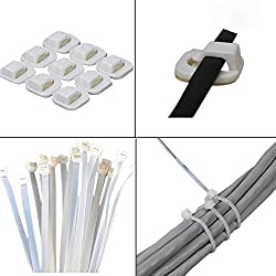 SUPER VALUE COMBO!!! Set of 50 HOKIPO Plastic Cable Tie + Set of 9 KM Self Adhesive Cable Clips