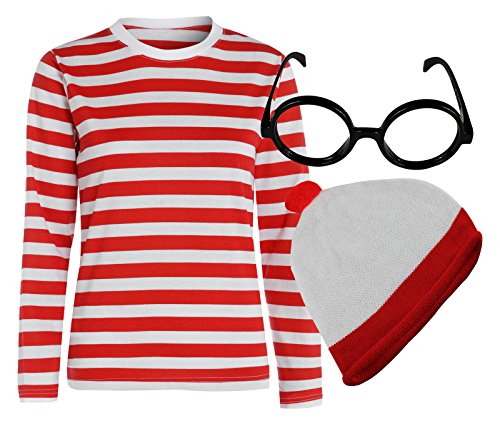 Adults Where's Wally/Wenda Costume Set with Striped Top, Round Glasses (no lens) and Bobble Hat