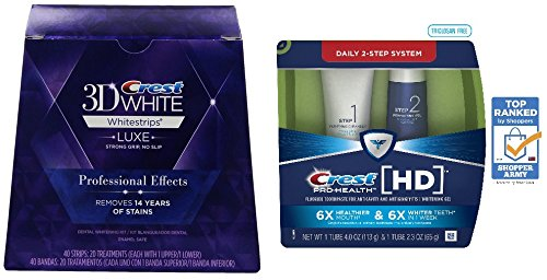 Bundle: Crest 3D White Luxe Whitestrips Professional Effects - Teeth Whitening Kit 20 Treatments & Crest Pro-Health HD Daily Two-Step Toothpaste System 4.0oz and 2.3oz Tubes