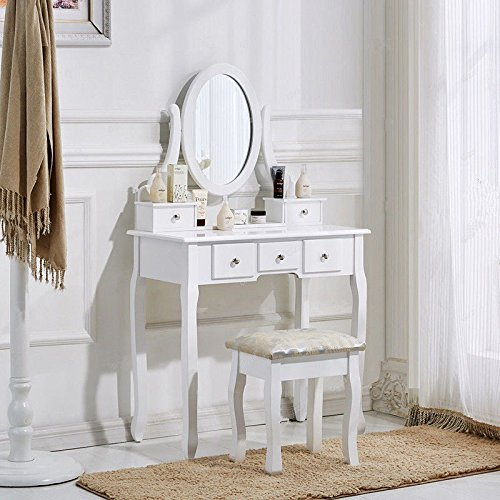5d35797a4a Schindora White Dressing Table and Chair Makeup Desk with Stool 5 Drawers  and Oval Mirror Bedroom