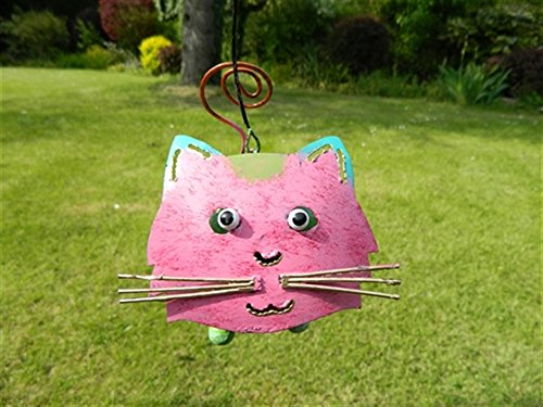 Cat Tea light Candle Holder Metal Hanging Garden Lantern - Pink Cat Tealight