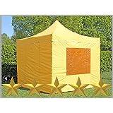 Faltzelt Faltpavillon 3x3m 3x3m gelb mit 4 Seitenteilen Partyzelt Pavillon Verkaufszelt wasserdicht