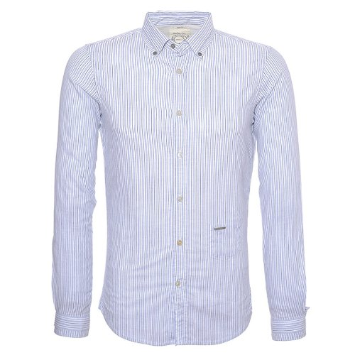 Diesel Spacifico Stripe Casual Shirt In Blue - Size Large