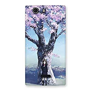 Premium Cherry Blossom Girl Back Case Cover for Canvas Nitro 2 E311