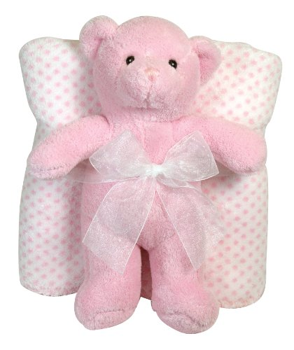 Stephan Baby Ultra Soft And Huggable Plush Bear And Polka Dot Blanket Gift Set, Pink