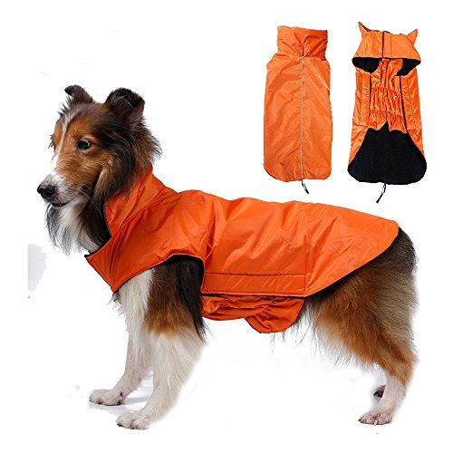SUPEREX® Pet Dog Coat Jacket Hund costüm wasserdicht Hundepullover Hundemantel, Regenjacke Regenmantel Winterjacke Hundebekleidung Hundejacke winter Warm Wintermantel Hundemantel für kleine mittlere große Hunde (Orange, M)
