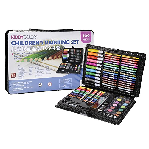 KIDDYCOLOR 109-Piece Deluxe Art Set for Kids with Plastic Case Light, Great Gift for Kids Christmas Gift (Tamaño: 109 pcs)