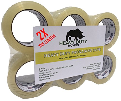 2X The Length Heavy Duty Shipping Tape, Package Tape for Packaging, Storage, Moving & Packing - 6 rolls / 110 yards per roll - Commercial Standard by Heavy Duty Moving (Crystal Tough Luck compare prices)