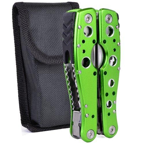 9-in-1 Multi-Tool Folding Pliers w/Knife, Saw, Bottle Opener, Screwdriver Bit, File & Case (Green) [Same Quality As a Leatherman]