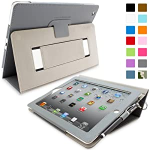 Snugg™ iPad 2 Case - Executive Smart Cover With Card Slots & Lifetime Guarantee (Grey Leather) for Apple iPad 2
