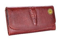 GUSTT® RFID Blocking Women Genuine Leather Accordion Style Crocodile Embossed Wallet (Brown1h)