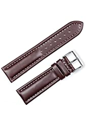 Breitling Style Oil Tanned Leather Watchband Brown 18mm Watch band - by deBeer