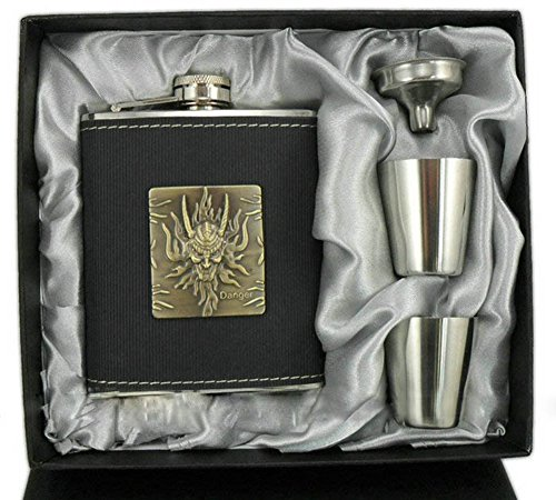 SaySure - Gift For Him 7OZ Stainless Stee Hip Flask Set 2 Goblets