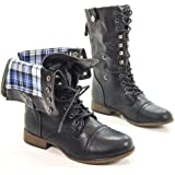 Legend8 Leatherette Military Combat Boot Lace Up Foldable Women New Shoe