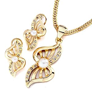 Pugster Gold Abstract Butterfly Clear Rhinestone Crystal Pearl Pendant Earrings Set