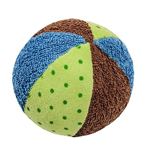 "Organic Cotton Rattle Ball for Baby 4.75"" Blue and Green - 1"