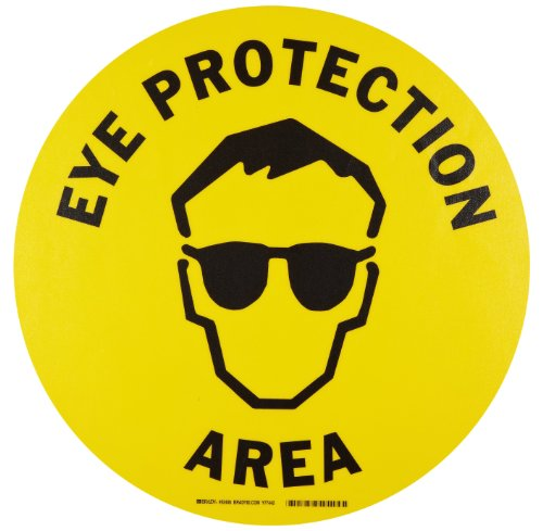 "Brady 92406 17"" Diameter B-819 Vinyl Film With Clear, Matte Anti-Slip Overlaminate, Black On Yellow Color Floor Safety Sign, Legend Ear Protection Area (With Picto)"