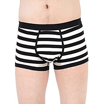 Men's Sexy Black and White Stripe Modal Boxer Brief Leisure Underpants