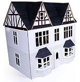 White Wooden Tudor 3 Storey Dolls House Kit