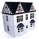 White Wooden Tudor 3 Storey Dolls House Kit