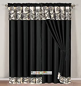 4 Pc Striped Felt Floral Garden Gothic Curtain Set Black Beige Silver Valance Drape