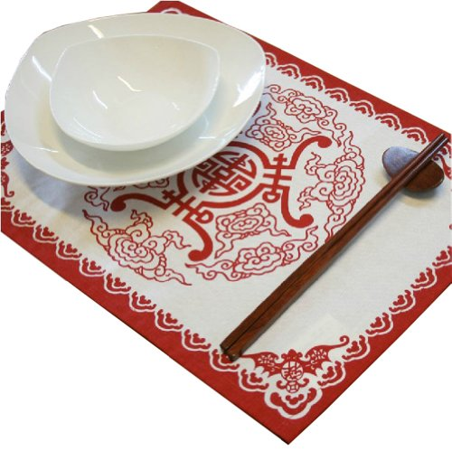 Set Of 4 Chinese Longevity Pattern Placemat Traditional Table Setting (Red)