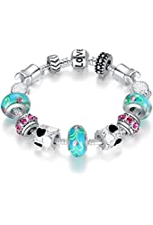 "Bamoer ""The World of Love"" Blue Murano Glass Beads Turtle Charm Bead Heart Silver Plated Charm Bracelet Gifts for Teen Girls Size 18cm/20cm"
