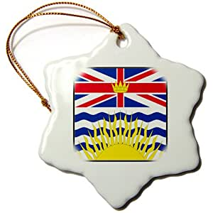 3dRose orn_80930_1 Photo of Canada British Columbia Flag Button Snowflake Ornament, Porcelain, 3-Inch