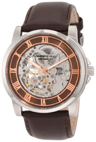 Kenneth Cole Men's Automatic Watch with Black Dial Analogue Display and Black Leather Strap KC1745