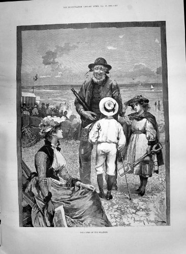Antique Print 1890 Clerk Weather Man Telescope Children Beach Seaside Knowles