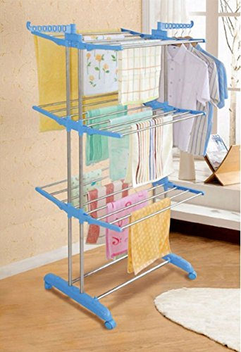 Hi Quality Stainless Steel Double Pole 26 Rods Cloth Drying Rack With Wheel – Original Quality Product By Fitness Paradise Only