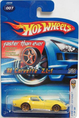 "Hot Wheels 2006 First Edition 7 of 38 YELLOW ""69 CORVETTE 1969 ZL-1 FASTER THEN EVER 1:64 Scale Die-cast CAR"