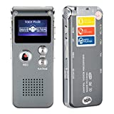 8GB 650HR Digital Audio Voice Recorder Rechargeable Dictaphone MP3 Player with Mini USB Port, Built-in Speaker and Dual Microphone (Grey)
